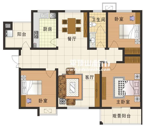 三室两厅一卫设计图展示
