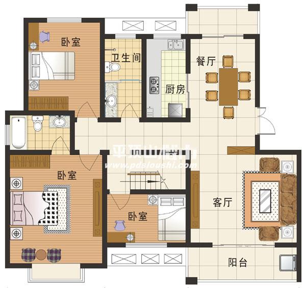 独三室两厅设计图展示